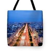 Avenue Des Champs Elysees In Paris Tote Bag