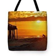 Avon Pier Sunrise Surfer 2 9/08 Tote Bag