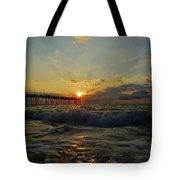 Avon Pier Sunrise Morning Sunbeams 7/26 Tote Bag