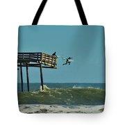 Avon Pier Surfers Leap 2 1/19 Tote Bag