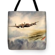 Avro Lancaster Over England Tote Bag