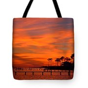 Awesome Fiery Sunset On Sound With Cirrus Clouds And Pines Tote Bag