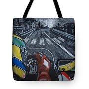 Ayrton Senna On Board At Monaco 89 Tote Bag