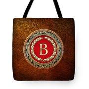 B - Gold Vintage Monogram On Brown Leather Tote Bag