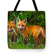 Babes In The Woods Oil Tote Bag