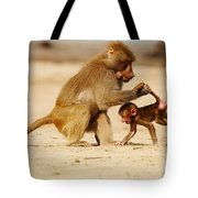 Baboon With Baby Tote Bag