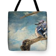Baby Blue Jay In Winter Tote Bag