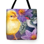 Baby Chick And Hummingbird Tote Bag