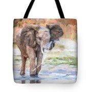 Baby Elephant Spraying Water Tote Bag