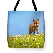 Baby Fox In Field Of Flowers Tote Bag