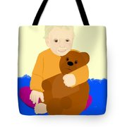 Baby Holding Teddy Bear Tote Bag