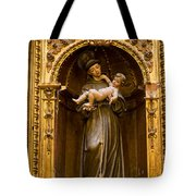 Baby Jesus And A Monk Sculpture Tote Bag