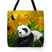 Baby Panda Under The Golden Sky Tote Bag
