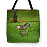 Baby Zebra Running Tote Bag