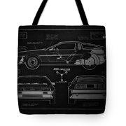 Back To The Future Delorean Blueprint 1 Tote Bag