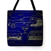 Back To The Future Delorean Blueprint 2 Tote Bag