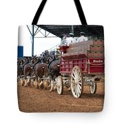 Back View Anheuser Busch Clydesdales Pulling A Beer Wagon Usa Tote Bag