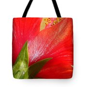 Back View Of A Beautiful Bright Red Hibiscus Flower Tote Bag
