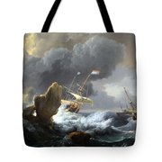 Backhuysen's Ships In Distress Off A Rocky Coast Tote Bag