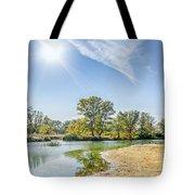 Backlighting River Landscape Tote Bag