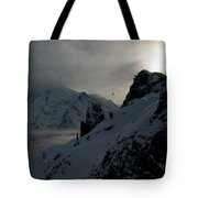 Backlit Skilift In Beautiful Landscape Tote Bag