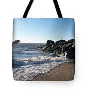 Backwash On Sunset Beach Cape May Tote Bag