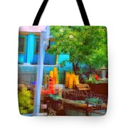 Backyard In Bright Colors Tote Bag