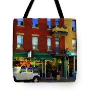 Bagels And Tea St Viateur Bakery And Davids Tea Room Montreal City Scenes Art Carole Spandau Tote Bag