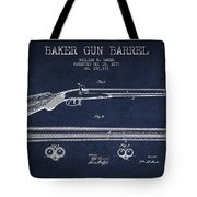 Baker Gun Barrel Patent Drawing From 1877- Navy Blue Tote Bag