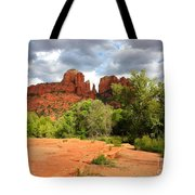Balance At Cathedral Rock Tote Bag by Carol Groenen
