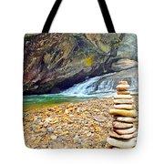 Balanced River Rocks At Birdrock Waterfalls Filtered Tote Bag