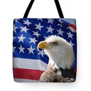 Bald Eagle And American Flag Tote Bag
