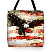 Bald Eagle Bursting Thru Flag Tote Bag