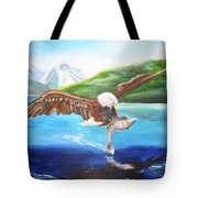 Bald Eagle Having Dinner Tote Bag