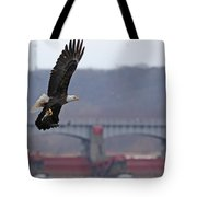 Bald Eagle Leaves With Fish At Lock And Dam 14 Tote Bag