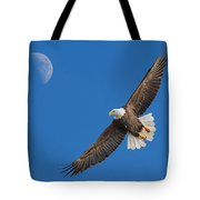 Bald Eagle Soaring With The Moon Tote Bag