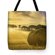 Bales In The Morning Mist Tote Bag