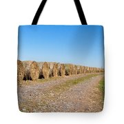 Bales Of Hay On An Old Farm Road Tote Bag