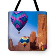 Balloon Festival In Monument Valley Tote Bag
