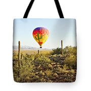 Balloon Ride Over The Desert Tote Bag