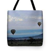 Balloons Above Serengeti. Tote Bag