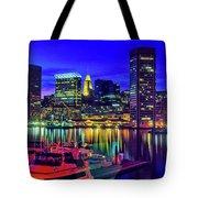 Baltimore Harbor By Night, Baltimore Tote Bag