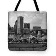 Baltimore Harbor Skyline Panorama Bw Tote Bag