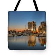 Baltimore Inner Harbor East Skyline At Dawn I Tote Bag