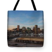 Baltimore Skyline At Sunset From Federal Hill Tote Bag