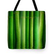 Bamboo Forest With Water Reflection Tote Bag