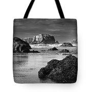 Bandon Sea Stacks Black And White Tote Bag