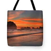 Bandon Sunset And Surf Tote Bag by Adam Jewell