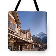 Banffs Main Street Banff Avenue At Dawn Tote Bag