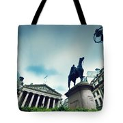 Bank Of England The Royal Exchange And The Wellington Statue Londonuk Tote Bag